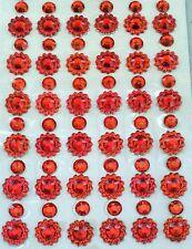 110 STRASS ADESIVI ROSSO 5 mm + FIORE STRASS 8 mm UNGHIE NAILART DECORAZIONI