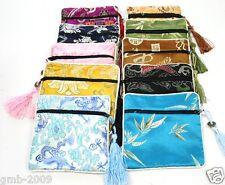 5PCS Mix Colors Zipper Tassel Silk Chinese Style Pattern Jewelry Bags Pouches