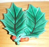 Ceramic Holly Christmas Candy Dish