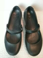 CROCS Womens 12 Black Mary Jane Shoes Alice Work Flats Great Condition