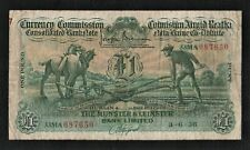 Currency Commission 1938 Ploughman  £1 Pound Munster & Leinster Bank Limited