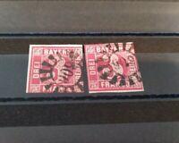 """Bayern 2 x 3 Kreuzer rot Mi-Nr.9  gMR """"606"""" Zwiesel"""
