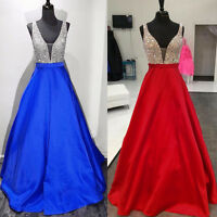 Long Satin Prom Formal Dresses Backless Wedding Party Gowns
