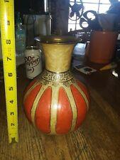 Vintage Beautiful Brass Decorative Floral Engraved /Etched Vase-Great Color