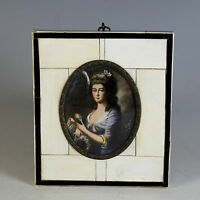 Miniature Portrait of  German Lady signed 19th Century