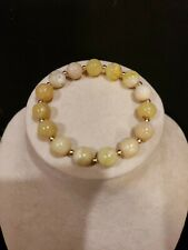 14K Yellow Gold YELLOW OPAL Stretch Bracelet, 10mm Round Beads