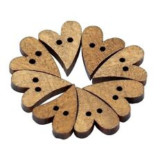 100pcs 2 Holes Lovely Brown Wood Wooden Sewing Heart Shape Button Craft N3