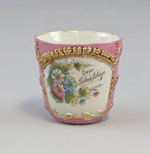 "99840546 Porcelain Showcase Cup Andenken-Tasse "" to the Birthday "" Art Nouveau"