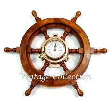 "18"" Wooden Ship's Steering Wheel with Brass Porthole Clock Nautical Home Decor"