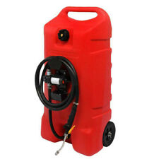 14 Gallon Fuel Transfer Gas Caddy Container Tank 12v Electric Pump Rolling Wheel