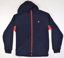 Chocolate TECH FLEECE Mens Zipper Front Hoodie Jacket Large Navy Blue Red NEW