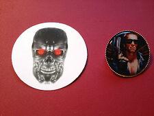 Terminator 25mm GOLD PLATED BADGE - T1 & T2 Judgement Day,  & sticker