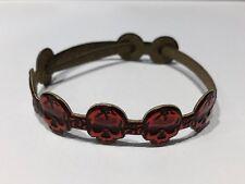 JUS - Pulsera de Piel en Calaveras en Rojo - Red Skulls Leather Bracelet