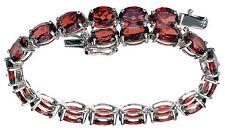 "Sterling Silver 24 Ct wt Red Garnet Tennis Bracelet 6-3/4"" Long"
