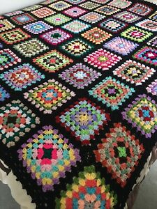 New Handmade King Size Vintage Style Crocheted Granny Blanket 72Inches Squared