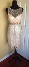 NEW SUE WONG BLUSH SEQUINS BEADED SHORT FORMAL  PARTY COCKTAIL EVENING DRESS 14