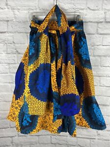 Women's Printed African Maxi Skirt WITH POCKETS One Size With Top Head Wrap