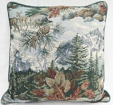 Newport Fall Decorative Tapestry Throw Pillow Autumn Leaves Moutains Deer Green