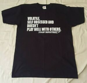 MARVEL IRON MAN VOLATILE SELF OBSESSED DOESN'T PLAY WELL WITH OTHERS T SHIRT MED