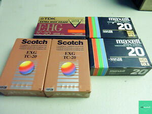 Lot of 5 Premium TC-20 VHS-C Camcorder Tapes Factory Sealed TDK Scotch Maxell