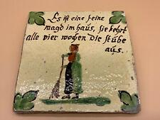 ANTIKE BIEDERMEIER KACHEL BAUERN-FLIESE MITTE 19-TES JHDT KERAMIK FEINE MAGD