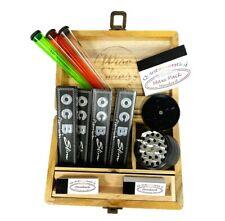 OCB Rolling Paper Gift Set Christmas Smoking Grinder Filter Tips - Wooden Box