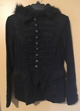 Rare Tripp Black Gothic Denim Jacket Fur Trim Ladies Size Medium 100% Cotton EUC