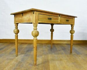 Antique rustic pine kitchen table / large writing desk