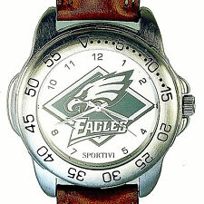 Philadelphia Eagles Sportivi New Unworn NFL Mans Vintage 1998 Leather Watch! $79