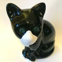 Cat Figurine ELPA Alcobaca Vintage Portugal Black White w Green Acrylic Eyes
