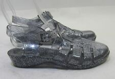 NEW LADIES Clear/Black Fashion Beach Retro  Jellies Jello Sexy Sandals Size 10