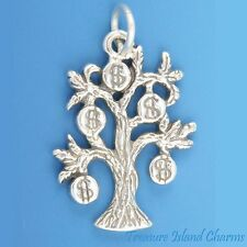 CHINESE MONEY TREE WITH DOLLAR SIGN .925 Solid Sterling Silver Charm Pendant
