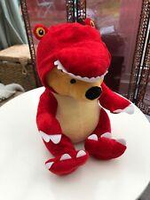 Disney Winnie The POOH Plush Soft Teddy BEAR IN Red T-REX DINOSAUR OUTFIT Cuddly