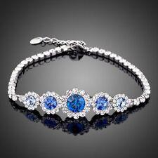 New 18K Rose Gold GP Made With Swarovski Crystal Elements Flower Bangle Bracelet