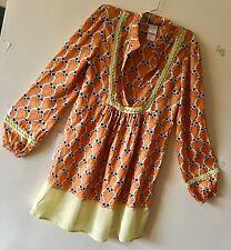 Rare patrizia pepe Green Orange Black Opart Illusion Owl Silk Tunic Dress 40(S/M