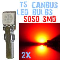 2Bombillas LED T5 5050 Bulbs CANBUS Dashboard No Error Coche Luz Cupula Rojo 4A1