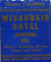 Vintage matchbook cover Wisconsin Hotel Jefferson Wisconsin c