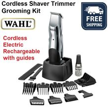 Wahl Cordless Beard Hair Shaver Trimmer Clipper Electric Rechargeable Cut Guides