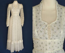 70s 80s GUNNE SAX Maxi Dress by Jessica McClintock Floral White Cotton XS