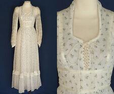 70s 80s Gunne Sax Maxi Dress by Jessica McClintock Floral White Cotton Xs to S