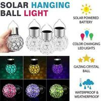 COLOUR CHANGING SOLAR CRYSTAL HANGING LED GARDEN GLOBE BALL PARTY XMAS LIGHT AU