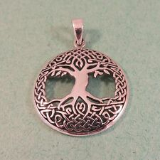 .925 Sterling Silver Detail Large CELTIC KNOT TREE of Life Pendant NEW 925 CC17