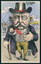 vv art MILLE France political humor caricature original old c1910s postcard