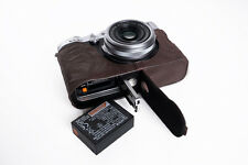 Genuine Real Leather Half Camera Case Bag Cover for FUJIFILM X100F Bottom Open D