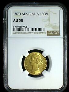 Australia 1870 Gold Sovereign *NGC AU-58* Sharp Lustrous Looks Great Low Min