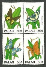 PALAU, SCOTT # 300, BLOCK OF 4 BUTTERFLIES & PLANTS, MNH