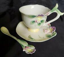 Franz Porcelain Sweet Pea Cup/Saucer/spoon set  Mint FZ00421