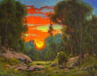 MAX COLE ART oil painting landscape signed vintage antique style dutch clouds 80