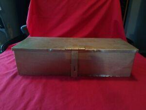 Vintage Gold Painted Metal  Storage Box tin ammo tin deed box lockable