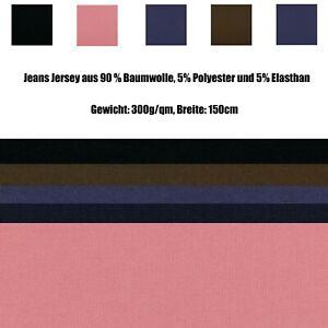 Stoff Jeans Jersey in Jeansoptik - Baumwolljersey uni - versch. Farben
